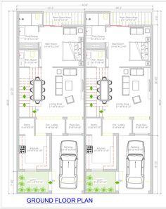 44'x60' Duplex Design 2 Combined unit Ground floor plan 5 Marla House Plan, 2bhk House Plan, Model House Plan, Duplex House Plans, House Layout Plans, Luxury House Plans, House Layouts, Office Floor Plan, Open Floor House Plans