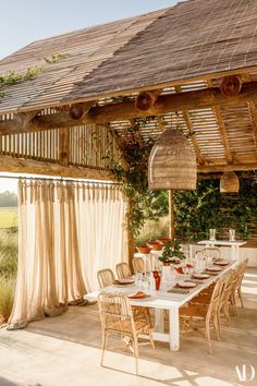 Featured in this last issue of Architectural Digest, this house in Comporta, one hour drive from Lisbon, belongs to the Perrin family. Outdoor Rooms, Outdoor Dining, Outdoor Decor, Outdoor Lounge, Bamboo House Design, Tropical Houses, Tropical House Design, Backyard Patio, Exterior Design