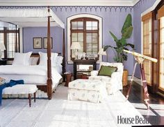 Love this plantation style bedroom.  Makes you feel like you're waking up in the Bahamas every day.  Ahh....  :)
