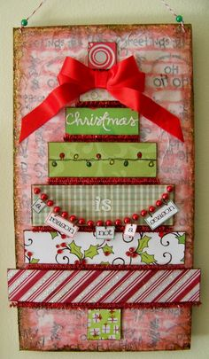 Christmas Mixed Media Canvas | Christmas / Christmas decorating, wall hanging, mixed media,art