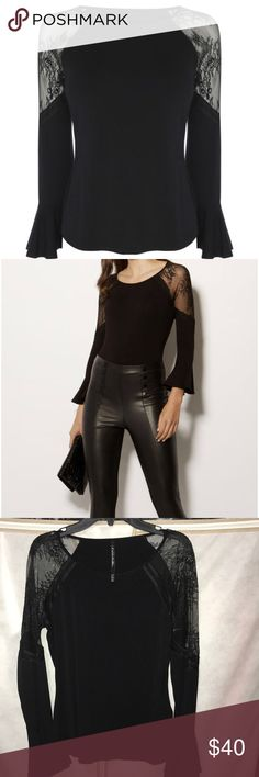 Fluted sleeve blouse Karen Millen Lace in the arms. Black. Worn once. Very cute on! Karen Millen Tops Blouses