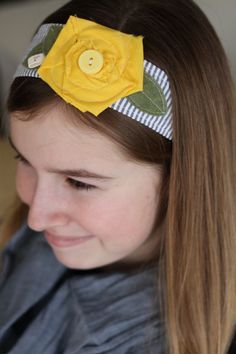Sunflower Fabric Blue and White Headband by letterbdesigns on Etsy