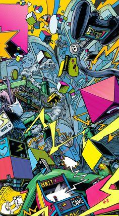 스페이스 하드록 머쉰 VS 빅브라더. - 디지털 아트 · 일러스트레이션, 디지털 아트, 일러스트레이션, 디지털 아트, 일러스트레이션 Graffiti Wallpaper Iphone, Pop Art Wallpaper, Apple Wallpaper, Iphone Wallpaper, Wallpaper Doodle, Illustration Art, Illustrations, Wow Art, Arte Pop