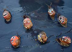 Escargot peinture coquille