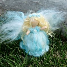Needle Felted Wool Fairy Wee Sparkle Angel Waldorf by Nushkie