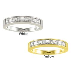 14k Yellow or White Solid Gold 1 1/3ct Princess-cut Cubic Zirconia Channel Band - Overstock™ Shopping - Big Discounts on Cubic Zirconia Rings