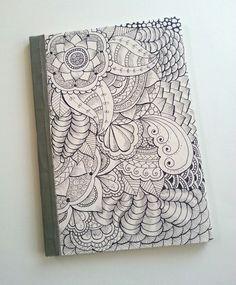Flowers bomb - handbinding notebook. Handdrawn with inkpen #zentangle #doodle