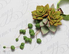 Succulent necklace pendant. Echeveria Succulent botanical necklace. Polymer clay…