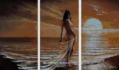 Схемы вышивка крестом. Триптих. Девушка у моря