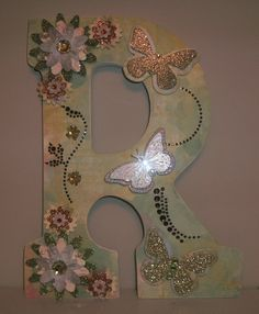 Embellished Wood Letters, Name, Word & Letter Craft granddaughters had fun making their own creations!