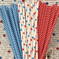 Red, White and Blue Straws
