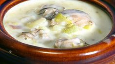 Oyster Chowder 1 pint oysters 3 Tbsp onion chopped 3 Tbsp butter 1 cup water 2/3 cup celery diced 2 large potatoes diced Salt/ pepper 1 quart milk Parsley Saute onion in the butter until tender, add potatoes, celery, and water, just to cover potatoes, season with, salt and pepper, cover, slow cook until potatoes are tender. Add milk bring to low simmer, add oysters simmering about 5-8 minutes, add parsley. Serve with warm crusty bread.