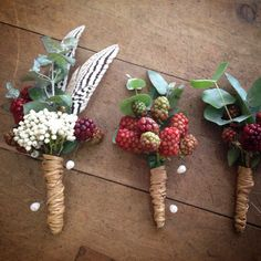 Native and boho buttonholes and corsages
