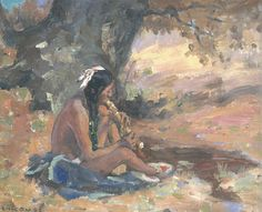 Abstract painting of Native American playing flute.