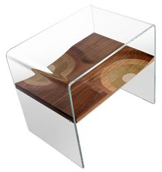 Modern glass & wood Bifronte Bedside table, bedside cabinet, nightstand. Drawer available