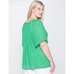 ELOQUII Lace Detail Peasant Blouse (195 BRL) ❤ liked on Polyvore featuring tops, blouses, relaxed fit tops, crinkle top, green blouse, sweater pullover and stretch blouse