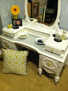 Old antique vanity re-painted with a modern twist. #vintagebyvelotticollection
