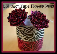 I want a whole flower pot filled with these. Duct Tape Flower Pen Tutorial.