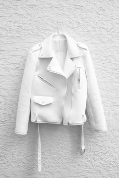 White Jacket, White hanger. White Wall. #fashion #womens