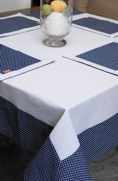 Linen&Cotton Tablecloth With Dots Decoration, Vintage Style Tablecloth, Farmhouse Tablecloth, Elegant Table Cover, Seaside White Tablecloth Tablecloth Sizes, Linen Tablecloth, Table Runner Pattern, Sewing Table, Elegant Table, Table Toppers, Table Runners, Diy And Crafts, Clothes Crafts