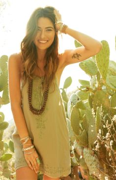 Sexy olive slip, wooden beads, stacked sterling. Love this cute bohemian outfit. Great ring too!