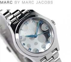 Cute polka dot with blue BY MARC JABOBS alphabet --> Marc Jacobs Womens Watch MINI HENRY GLOSSY POP Silver Bracelet Blue MBM3269 #MarcJacobs #Dress $157.77
