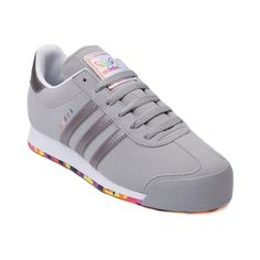 Shop for Womens adidas Samoa Athletic Shoe in Gray Gray at Journeys Shoes. Shop today for the hottest brands in mens shoes and womens shoes at Journeys.com.The always classic soccer inspired Samoa from adidas features a synthetic upper, reinforced toe, and padded mesh collar for comfort. Includes a one of a kind rainbow color pop outsole! Available exclusively at Journeys and SHI!