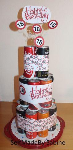 Zum 18. Geburtstag meines Neffen habe ich aus Getränkedosen eine 3stöckige Torte gebastelt. Für die Torte habe ich Außen genau 18 Dos...