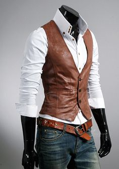 Wholesale New Style Simple Design Single-Breasted Leather Waistcoat For Men (LIG. Steampunk Mode, Steampunk Fashion, Stylish Men, Men Casual, Men's Waistcoat, Style Masculin, Designer Suits For Men, Herren Outfit, Leather Vest