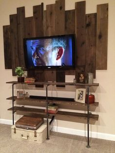 DIY Industrial Iron Pipe and Wood Shelves Wall Design, Pallet Tv Stand, Decor, Wood Shelves, Home Decor Shops, Tv Wall Design, Home, Home Decor, Tv Stand Plans