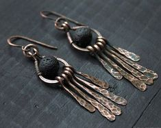 Hammered Copper Lava earrings Antique jewely Wire wrapped earrings Rustic Boho Earrings Long Earrings Simple jewelry 7th Anniversary Gift