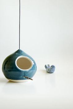 Ceramic Birdhouse in Teal by RossLab on Etsy, $45.00