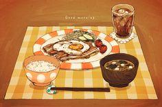 いただきます。 ◇個人的理想の朝ご飯描いてみました。熱々焼きたてのベーコンエッグが食べたい。…