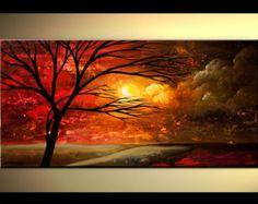 "Cuadro moderno árbol púrpura rojo turquesa de Osnat - confeccionar - 48 ""x 24"" la pintura de paisaje colorido acrílico grande por OsnatFineArt"
