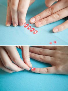 Paint your nail art designs on a plastic sandwich bag first, peel them off, and seal them on your nails with nail art glue or a clear topcoat for easy application.