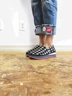 Zhenzee 'Bite Me' Houndstooth knit platform shoes.
