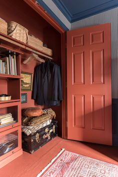 Candy Stripe Wallpaper, Paint Door Knobs, Closet Transformation, Old Refrigerator, Stiffkey Blue, Traditional Bedroom, Traditional Design, Painted Doors, Cool Diy Projects