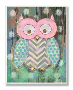 Amazon.com: The Kids Room By Stupell Wall Decor, Multi Color Distressed Woodland Owl: Baby