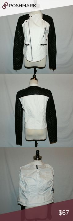Walter Baker  Jacket Walter Baker Cloth Denim Jacket with faux leather sleeves, excellent condition,  like new,  lining, zippers on cuffs, all zippers work smooth and easy,. Walter Baker Jackets & Coats