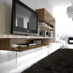 Detalles mueblo moderno para salón en roble blanco Tv Stands, Flat Screen, Living Room, Ideas, Home, Modern Lounge, Tv Unit Furniture, Lounges, Blood Plasma
