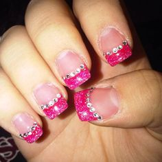 Pink glitter tips with rhinestones
