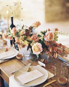 Soft fall colors for an elegant wedding table wedding table setup, wedding Wedding Table Setup, Wedding Reception Centerpieces, Wedding Place Settings, Wedding Arrangements, Floral Centerpieces, Floral Arrangements, Wedding Decorations, Fall Wedding Flowers, Floral Wedding