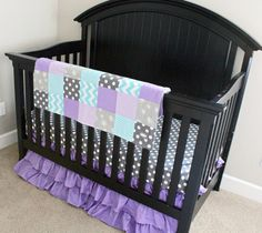 Purple & Aqua Baby Girl Crib Bedding from @gigglesix baby #PNapproved