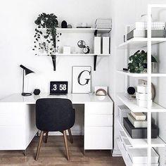 White workspace with West Elm desk + chair // via @workspacegoals on Instagram