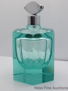 Vintage Art Deco six-sided aqua glass perfume atomizer bottle by Moser Karlovy Vary (sgn)