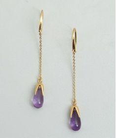 Pomellato gold and amethyst drop estate earrings