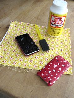 It's Tuesday again and today's project is a quick transformation for your cell phone case...and it uses fabric!!   Here's the before...     ...