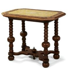 Early Baroque table,  German or Dutch circa 1700/20. A turned elm wood table with baluster forms, X stretcher and an octagonal top veneered in various fine woods, with moulded edge enclosing a faux-marble plaque, 'signed' D. Kutz. 72 x 86.5 x 61 cm. Restored condition.