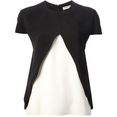 BALENCIAGA Layered T-Shirt ($775) ❤ liked on Polyvore featuring tops, t-shirts, silk tee, balenciaga t shirt, layered t shirt, silk top and black white top
