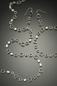 Modern Set by Jennifer Chin: Silver Earrings, Necklace & Bracelet available at www.artfulhome.com
